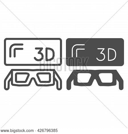 3d Screen And Glasses Line And Solid Icon, Tv Concept, Three Dimensional Monitor And Spectacles Vect