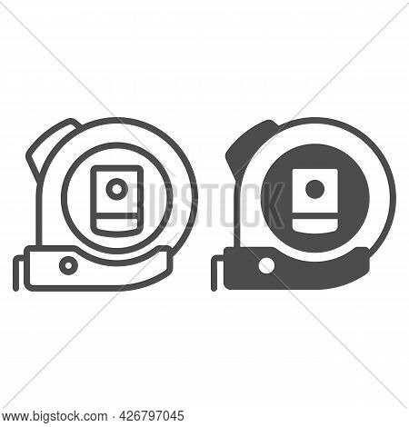 Roulette Line And Solid Icon, Construction Tools Concept, Ruler Tool Measuring Tape Vector Sign On W