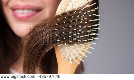 Close Up Problem Hair. Macro Hair Care And Hair Loss Concept.