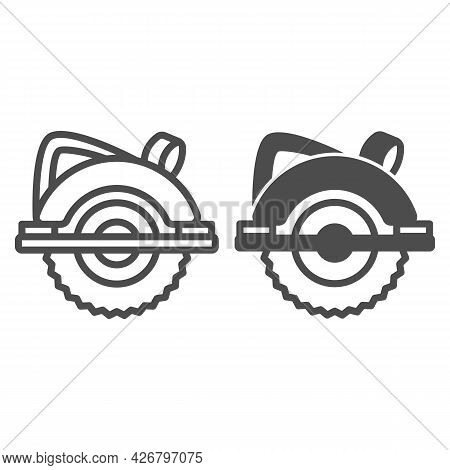 Circular Saw Line And Solid Icon, Construction Tools Concept, Electric Circular Saw Vector Sign On W