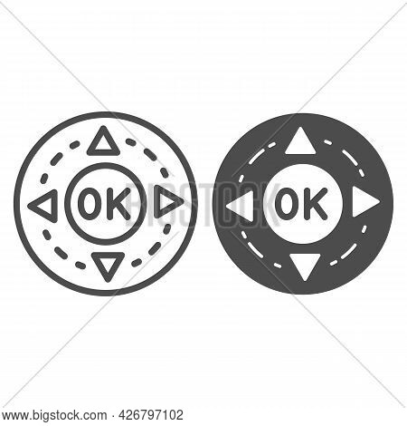 Remote Control Buttons Line And Solid Icon, Monitors And Tv Concept, Ok And Arrows Button Vector Sig