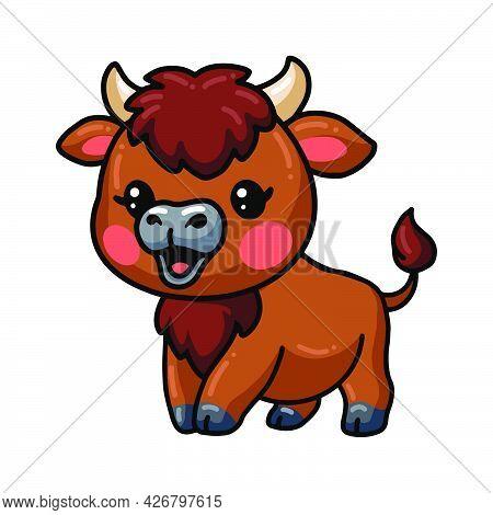 Vector Illustration Of Cute Baby Bison Cartoon Posing