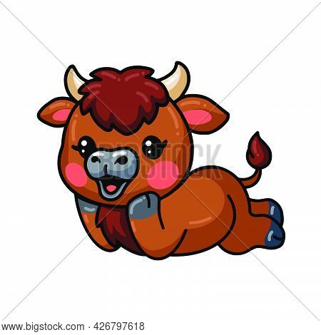 Vector Illustration Of Cute Baby Bison Cartoon Laying Down