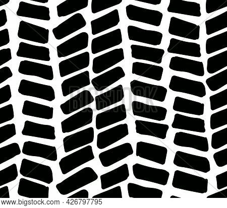 Abstract Seamless Background With Black Strokes. Vector