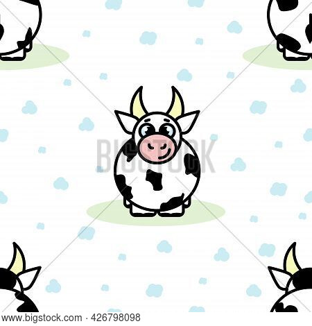 Cute Child Cartoon Seamless Pattern Of Cow And Clouds On White Background. Vector Illustration