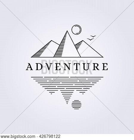 Simple Adventure Mountain Lake Logo Vector Illustration Line Art Design Monoline Linear Outline Crea