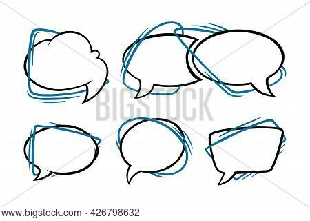 Speech Bubbles In Oval, Rectangular And Cloud Shapes. Outline Speech Boxes Isolated In White Backgro