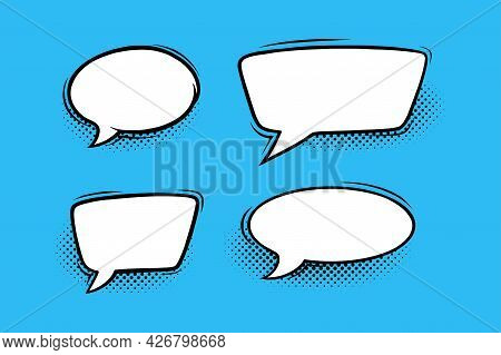 Speech Bubbles With Halftone Shadows In Comic Style. Circular And Rectangular Speech Boxes Isolated