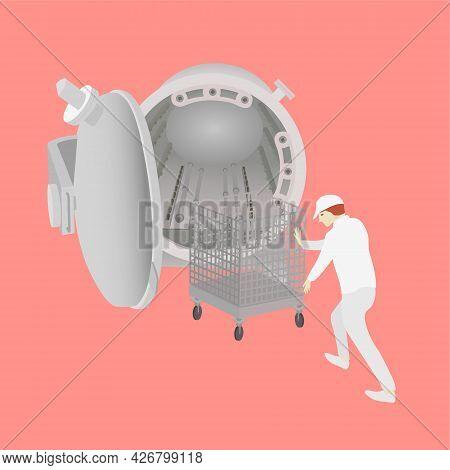 Food Industrial Worker Pushing Trolley To Autoclave Batch Retort Sterilization. Vector Illustration