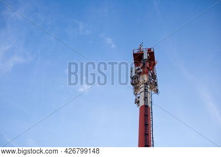 Technology On The Top Of The Telecommunication Gsm 5g,4g,3g Tower.cellular Phone Antennas On A Build