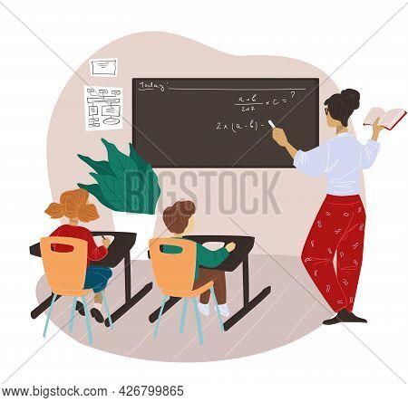 Elementary School Teacher Working With Kids Vector