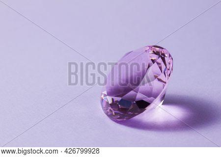 Purple Precious Gemstones For Design Gems Jewellery. Big Diamonds Crystal On Purple Background.