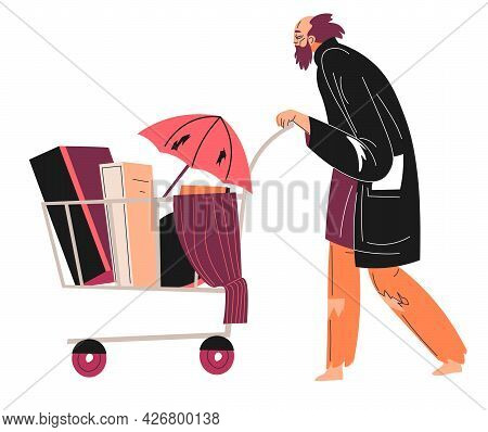 Homeless Man With Trolley Filled With Boxes Vector