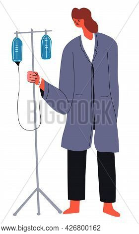 Weak And Ill Woman With Drop Counter And Syringe