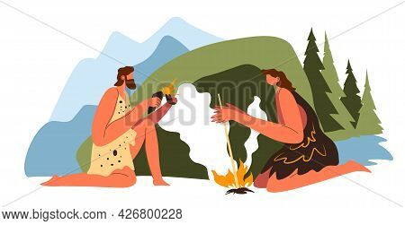 Man And Woman Making Fire, Prehistoric Scenery
