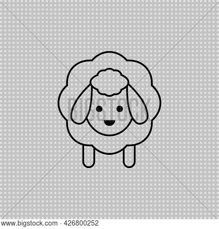 Sheep Transparent Icon. Vector Drawing. Lamb Linear Outline Illustration.