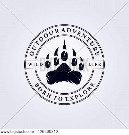 Predator Footprint Adventure Explore Logo Vector Illustration Design Badge Emblem Vintage Simple