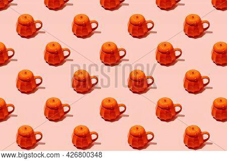 Ceramic Coffee Tea Soup Cup As Pumpkin On Pink. Seamless Pattern. Halloween Concept, Hard Shadow, Ba