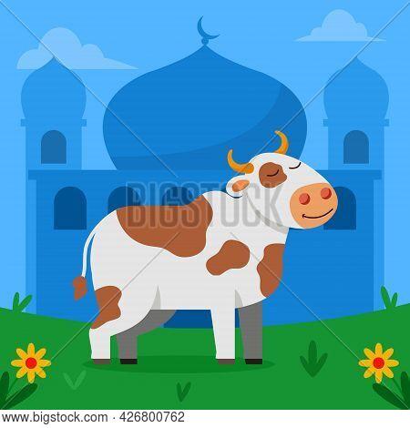 Happy Cow For Sacrifice On Eid Al Adha Day.