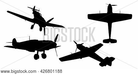 Set With Silhouettes Of An Airplane With A Propeller In Various Positions Isolated On A White Backgr