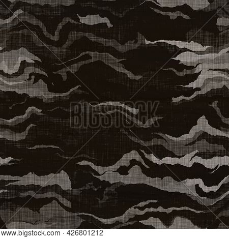 Camouflage Dark Underbrush Wood Style Texture Material. Seamless Pattern In Earth Tones Hidden Effec