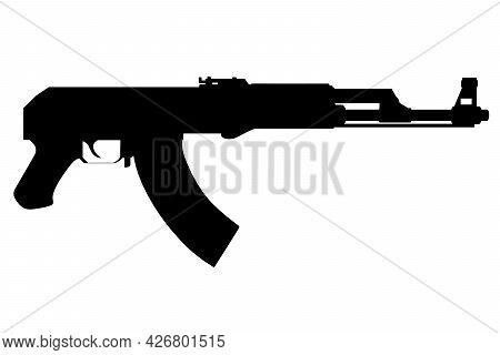 Kalashnikov Assault Rifle Silhouette Isolated On White Background. Vector Illustration