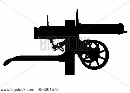 Silhouette Of An Ancient Maxim Machine Gun Isolated On A White Background. Side View. Vector Illustr