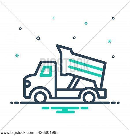 Mix Icon For Dump-truck Construction Earth Contractor Earthmover Truck Dump Transportation