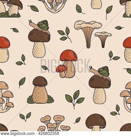 Seamless Pattern Of Cute Doodle Mushrooms. Edible Mushrooms, Ingredients For Cooking, Salads. Vegeta