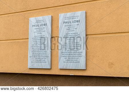 Legnica, Poland - June 1, 2021: Plaques Informing About The Birthplace Of Paul Lobe.
