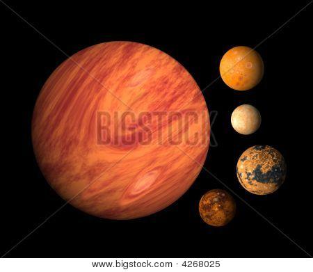 Jupiter And 4 Moons