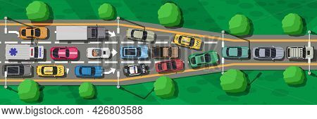 Road Highways With Many Different Vehicles In Traffic Jam. Narrowing Or Bottleneck On Road Top View.