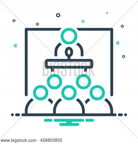 Mix Icon For Seminar Conference Convention Ideas Audience Desk Communication Corporate Presentation