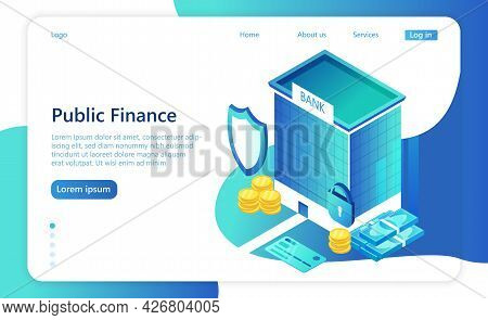 Financial Regulation And Audit Concept. Legal Payment And Taxes. Public Finance. Isometric Vector Il
