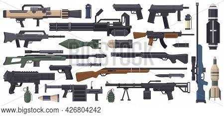 Military Weapon. Army Weapons, Rocket, Grenade Launcher, Machine Gun And Bazooka Isolated Vector Ill