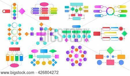 Flowchart Infographic Diagrams. Block Flowchart Diagrams, Work Process Structure Presentation Scheme