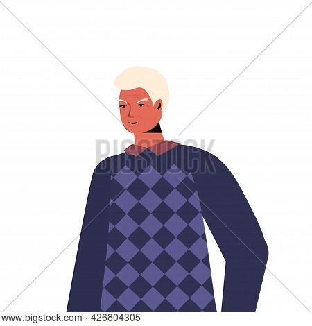 Old Man In Casual Trendy Clothes Senior Male Cartoon Character Gray Haired Grandfather