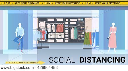 Fashion Boutique With Signs For Social Distancing Yellow Stickers Coronavirus Epidemic Protection Me