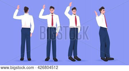 Set Businessman In Formal Wear Male Cartoon Character Standing Pose Different Angles View Full Lengt