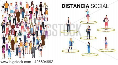People Keeping Distance To Prevent Coronavirus Social Distancing Safety Instructions Concept Do And