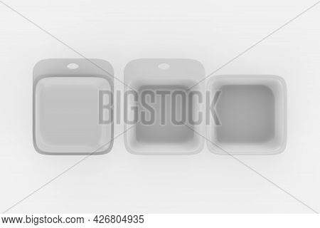 Food Box, Packaging For Hamburger, Lunch, Fast Food, Burger, Sandwich. Product Pack. Isolated On Whi