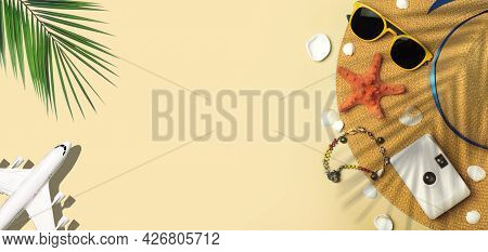 Travel Summer Background. Sunglasses, Hat, Palm Tropical Leaves, Airplane And Beach Accessories On A