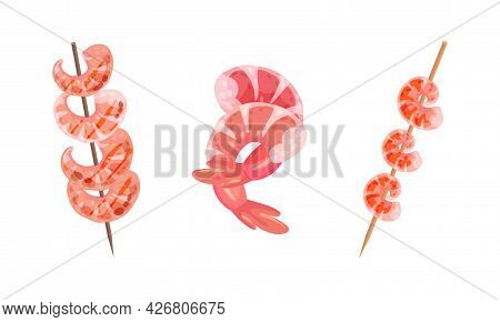Appetizing Snack With Shrimp Or Prawn On Skewers Vector Set
