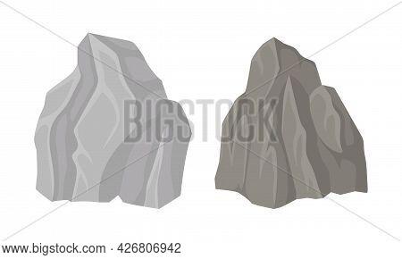 Massive Boulder And Cobble As Rock Fragment Vector Set