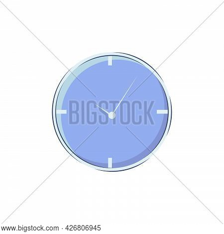 Wall Clock In A Minimalistic Style Without Numbers Isolated On A White Background. Vector Icon Of Ro