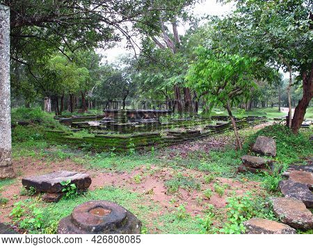 Anuradhapura, Sri Lanka - 05 Jan 2011: Ruins Of Rathna Prasadaya, Anuradhapura, Sri Lanka