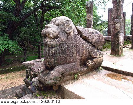 Polonnaruwa, Sri Lanka - 06 Jan 2011: Ruins Of King Council Chamber In Polonnaruwa, Sri Lanka