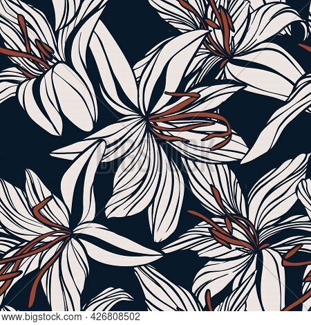 Lily Hand Drawn Flower Background, Digital Seamless Paper With Doodle Floral Texture , Jungle Leaves
