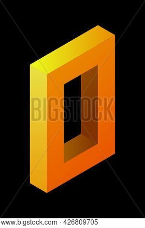 Gradient Golden Number 0 In Isometric Style. Yellow Figure Zero Isolated On Black Background. Learni