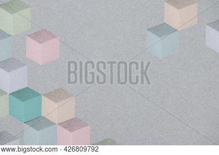 Dark pastel paper craft textured cubic patterned template